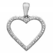 9ct white Gold 0.09ct Diamond set heart pendant